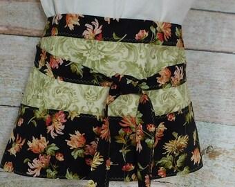 Black and Green Floral Utility Apron - Vendors Apron - Waitress Apron - Half Apron - Bartender Apron - Craft Apron - Bridesmaid Gift