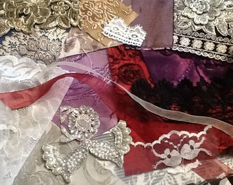 Samples of fabric trims and lace for the gown you might purchase