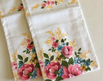 Vintage pair New unused pink flower print cotton pillowcases