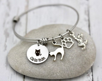 Cats Rule Adjustable Bangle Bracelet, Charm bracelet, cats, adopt, rescue, breed, feline, kitty, purr, meow