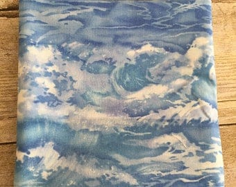 Blue and White Ocean Waves Fabric--Fat Quarter