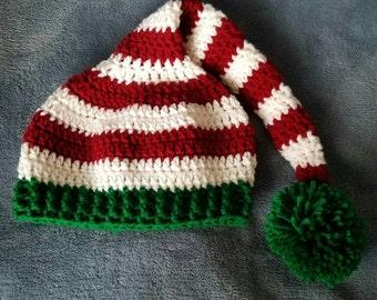 Ready to Ship - Crocheted Striped Elf Hat - Toddler/Preschooler