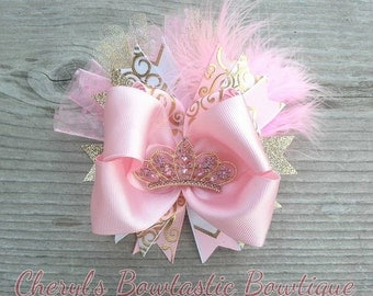 Pink & Gold Sparkly Stacked twist bow with Pink and gold Tiara center, Tiara bow, Stacked bow, Pink and Gold Birthday. Made to Order