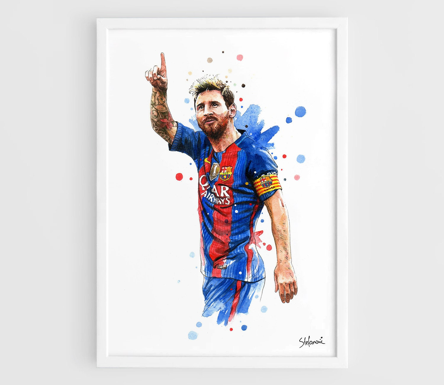 lionel messi barcelona fc 2016 kit a3 wall art print poster. Black Bedroom Furniture Sets. Home Design Ideas
