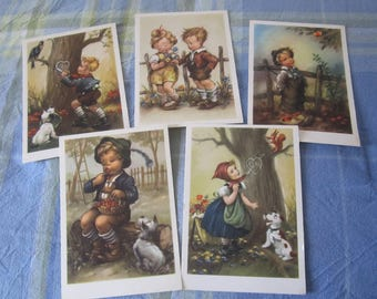 Set of Five Postcard Hummel Style From the 1940s (Cekade Offsetdruck)