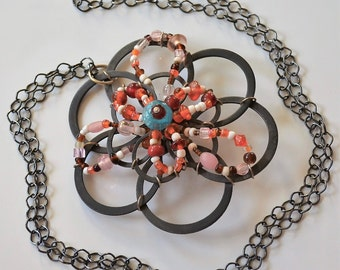 Flower Pendant, Industrial necklace, Large necklace, Unique necklace, Long necklace, Fun necklace, Artsy necklace, Dramatic necklace, OOAK