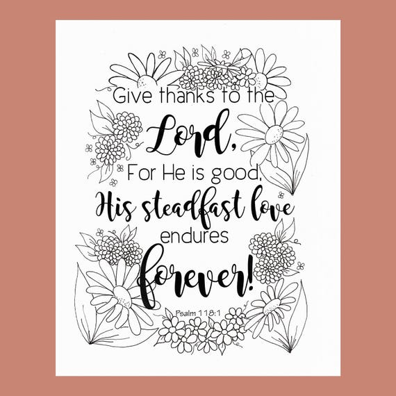 Give Thanks Coloring Page Psalm 1181 Bible Verse Christian From FourthAvePenandInk On Etsy Studio