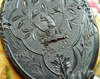 Antique Victorian 1878 Black Diatite Hand Mirror With a Squirrel Butterflies and Lily of the Valley Flowers