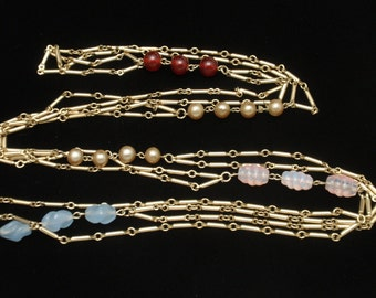"""54"""" Long Double Strand Necklace with Specialty Beads"""