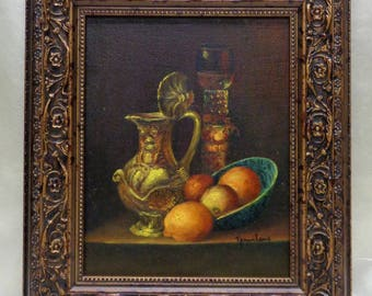 Antique Style Framed Old Frank Lizan Brass Pitcher Wine Cup & Oranges Oil Painting