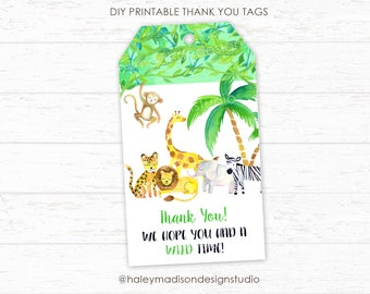 Jungle Thank you Tags, Safari Thank you Tags, Jungle Baby Shower, Jungle Birthday, Safari Birthday Favor Tags, Wild one Tags HMD239