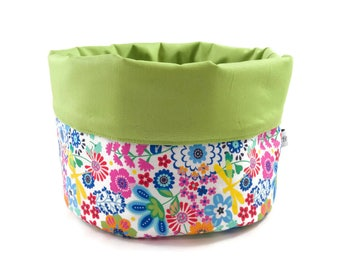 Fabric basket flowers green white-coloured - inside bread basket accessories