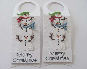 Wine Bottle Tags, Snowman Gift Tags, Christmas Gift Tags, Set of 2, Christmas Wine Bottle Gift Tags,Merry Christmas Gift Tags, Christmas Tag