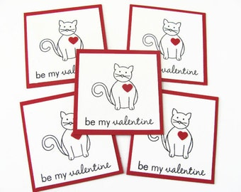 Kids Valentine's Day Cat Card, Kids Valentine Cards, Classroom Valentine's Day Cards, Kids Classroom Cards, Valentines Day Cards, Cat Cards