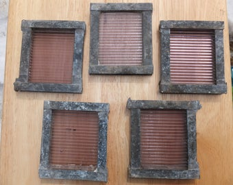 5 Vintage Salvaged Luxfer Purple Glass Ribbed Sawtooth Tiles in Original Zinc? Border/Connector