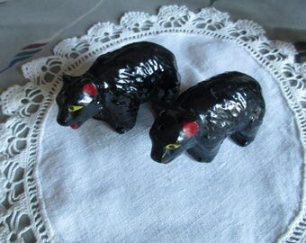 Collectible black pair of bear salt and pepper shakers,  red clay,  Japan