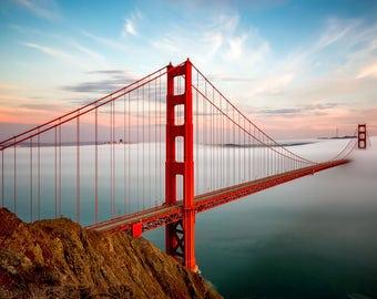 Canvas Print - Free Shipping in the U.S. - Golden Gate Bridge Print in Beautiful San Francisco Fog - A Warm Bay Area Sunset Photograph