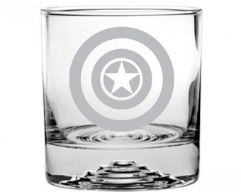 Captain America Etched Rocks Glass Personalized