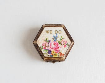"""Rustic Wedding Ring Box With Moss, Floral Box, Ring Bearer Box, Wooden Wedding Box, Romantic Wedding, Shabby Chic, """"We Do"""" Box, Brown Box"""