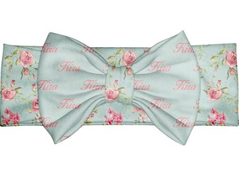 Vintage Floral Bow - baby shower custom gift - Personalized Baby Headband - Newborn Gift - Personalized Gift - Toddler Headband