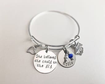Graduation Bangle High School Graduation Name Bangle Graduate Cap with Year She believed she could so she did Heart School Colors
