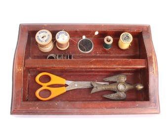 Thread Spool and Bobbin Holder - Sewing Caddy w/ Built-In Pincushion - Vintage Sewing Organizer - Quilting Holder - Primitive Sewing Decor