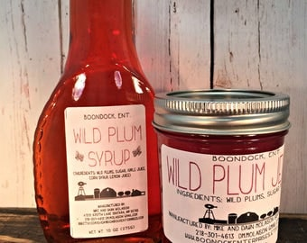 Wild Plum Jelly and Syrup Combo - Breakfast Syrup - Stone Fruit Jelly - Real Fruit - Hostess Gift - Housewarming Gift - Boondock Enterprises