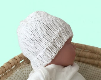 Organic cotton hat, hand knit baby hat, 0 to 3 months hat, knit baby beanie, newborn knit hat, babys first hat, hospital hat,