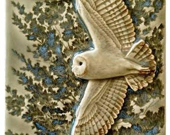 Tile, Flying Barn Owl, ceramic art tile