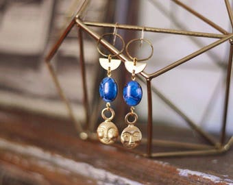Moon Priestess Earrings with Vintage Gold Moons and Blue German Glass Cabochons