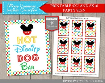 INSTANT DOWNLOAD Mouse Clubhouse 5x7 and 8x10 Hot Diggity Dog Bar Party Sign / Printable DIY / Clubhouse Collection / Item #1610