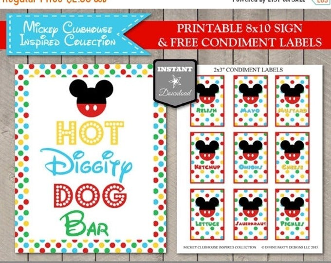 SALE INSTANT DOWNLOAD Mouse Clubhouse 8x10 Hot Diggity Dog Bar Party Sign / Printable Diy / Clubhouse Collection / Item #1610