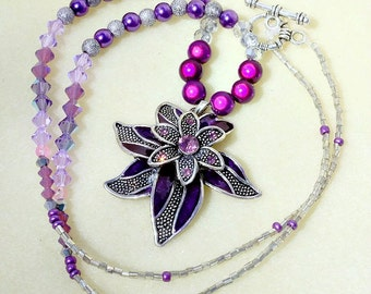 Purple Necklace, Flower Necklace, Floral Pendant, Purple Jewelry, Floral Jewellery, Silver Jewelry, Rhinestone Necklace, Statement Necklace