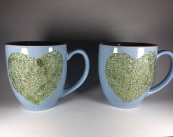 Set of two heart glitter mugs // dishwasher safe // holds 16 ounces