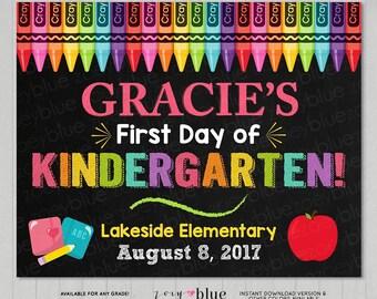 First Day of School Sign - Girl 1st Day of Kindergarten Prek Preschool Chalkboard Sign - Personalized Photo Prop - Printable Digital File