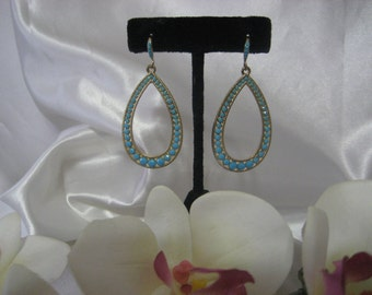 """Turquoise color Blue Beaded Tear drop Dangle Chandelier Earrings 2 1/2"""" Long Bridal Wedding Bridesmaid Prom Gold tone setting"""