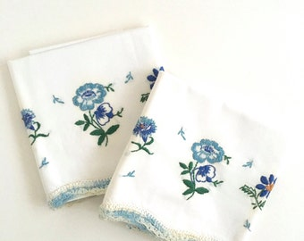 Vintage Pillowcases Embroidered Floral Blue Flowers Crochet Edge Bed Linens Pair of Decorative Pillow Covers