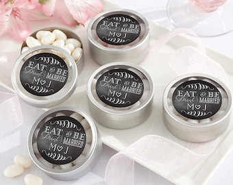 24 + Personalized Silver Round Candy Tin, Eat Drink & Be Married Mint Tin Wedding Favors, Custom Mint Tins (14040-ED)