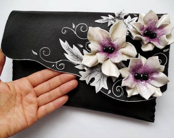 Floral bag, Painted leather,Leather clutch,White flowers bag,Black white, Anniversary gift,Gift for her,Birthday gift,Unique bag,Wedding