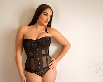 Mesh and lace corset