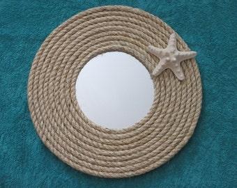 Nautical / beachy natural hemp / sisal rope  12 inch round mirror with starfish