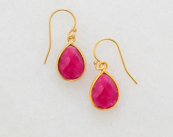Ruby Gold Earring - Cute Delicate Earring - Wedding Jewelry - Minimal Earring - 925 Silver Earring - Dainty Earring - Small Drop Earring