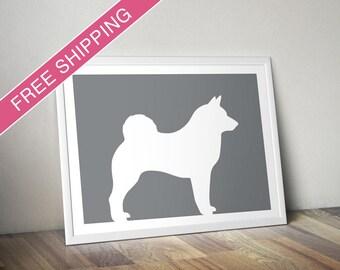 Norwegian Elkhound Print - Norwegian Elkhound Silhouette, Norwegian Elkhound art, dog portrait, modern dog home decor