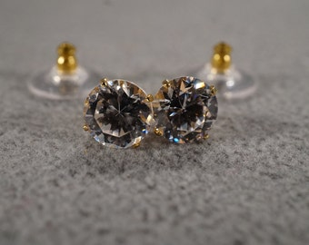 Vintage Traditional Style Yellow Gold Tone Glass Stone Round Stud Style Post Pierced Earrings Jewelry -K#34