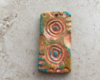 Handmade rustic terracotta, turquoise, and green abstract design faux stoneware polymer clay rectangular focal pendant
