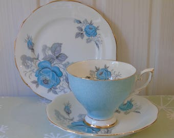 Royal Standard Fine Bone China Trio Pattern Number 2434 - English Blue/Turquoise/Duck Egg Floral China - Vintage China - Vintage Wedding