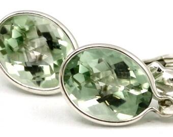 Green Amethyst, 925 Sterling Silver Leverback Earrings, SE001