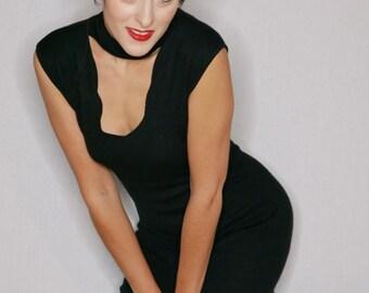 Black vintage dress dress stretch v-neck
