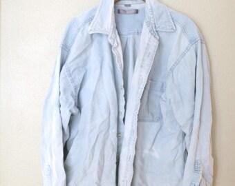 vintage 1990's oversized blue chambray denim shirt womens