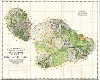 1855 Government Survey Map of Maui Hawaii Updated in 1903, Hawaii Decor, Hawaii Map, Hawaii Print, Hawaii Art, Historic Map, Hawaii History